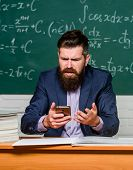 Whats Wrong With Phone. Businessman Try To Buy Online On Phone. Cyber Monday. Teacher Use Mobile Pho poster