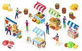 Flea Market Counters Or Bazaar Stall, Marketplace Showcase With Canopy, Street Shop Or Grocery Store poster
