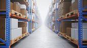 Warehouse With Cardboard Boxes Inside On Pallets Racks, Logistic Center. Huge, Large Modern Warehous poster