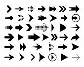 Set Of Black Arrows Icons. Dots And Lines. Pointer Forward, Backward. Icon Next, Icon Back, Icon For poster