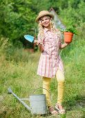 Ranch Girl. Happy Childhood. Planting Plants. Little Kid Hold Flower Pot. Spring Country Works. Happ poster