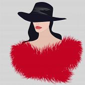 Fashionable Fur. Beautiful Red Fur Collar With A Long Pile On A Lady In An Elegant Hat - Vector. Sal poster