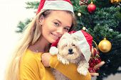 Happy Woman Holding Little Bichon Frise Dog Waiting For The New Year Santa Claus - Cheerful Millenni poster