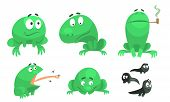 Collection Of Funny Green Frog With Various Emotions, Amphibian Animal Character In Different Situat poster