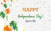 Ireland Independence Day Greeting Card. Flying Balloons In Ireland National Colors. Happy Independen poster
