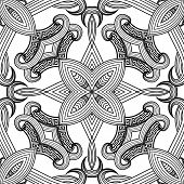 Floral Symmetrical Black And White Greek Vector Seamless Pattern. Abstract Decorative Ornamental Bac poster