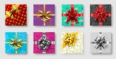 Gift Boxes With Ribbon Bow. Gifts Decoration Bows, Christmas Holidays Top View Presents Boxes. Xmas  poster
