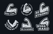 Powerful Biceps Muscle Inspirational Quotes. Be Strong, Work Hard Arm Muscles And Power Gym. Bodybui poster