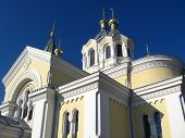 pic of deacon  - View on Catholic church with beautiful architecture - JPG