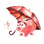 Moneybox Under The Umbrella. Deposit Insurance. The Banking Concept. Watercolor Hand Drawn Illustrat poster