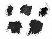 Bristle Ink Brush Stroke On White Background. Freehand Ink Splatter Handdrawn Illustration. Ink Brus poster