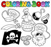 Coloring book with pirate topic 4 - vector illustration.