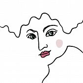 Abstract Line Art Face In1960s Drawing Style. Art Design Element. Ceative Avatar. Modern Line Art As poster