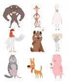 A Vector Illustration Of Different Wild And Domestic Animals Cartoons. Bull, Cow, Sheep, Cock, Bear, poster