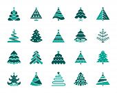 Christmas Tree Silhouette Icons Set. Isolated On White Web Sign Kit Of Stylized Spruce. Fir Farm Pic poster