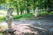 Old Park-manor Belkino In Summer Day, Paved Walkways. Obninsk, Russia poster