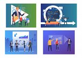 Business Discussion Illustration Set. People Meeting, Talking Through Video Chat, Discussing Data On poster