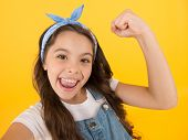 I Did It. Happy Little Girl Flex Biceps On Yellow Background. Girls Power. Girls Rule The World. Fut poster