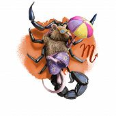 Creative Digital Illustration Of Astrological Sign Scorpio. Rat Or Mouse Symboll Of 2020 Year Signs  poster