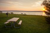 Scenic Sunset Over Keweenaw Bay. Scenic Sunset Over The Keweenaw Bay At Baraga State Park In The Upp poster