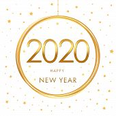Happy New Year 2020 - New Year Shining Background With Gold Ball And Glitter. Cover Of Xmas Card For poster
