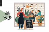 Coffee Shop -small Business Illustrations -cafe Owner -modern Flat Vector Concept Illustration Of A  poster