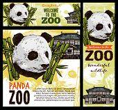 Panda Zoo, Bamboo Leaves And Chinese Pagoda Sketch. Vector Cartoon Panda Bear Head Mascot And Nation poster