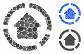 House Diagram Mosaic For House Diagram Icon Of Round Dots In Different Sizes And Color Tones. Vector poster