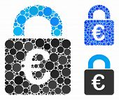 Lock Composition For Lock Icon Of Filled Circles In Different Sizes And Color Tinges. Vector Filled  poster