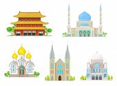 Christian Church, Catholic Cathedral, Muslim Mosque And Buddhism Pagoda Temple Religion Buildings. V poster