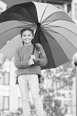 Girl Child Long Hair With Umbrella. Colorful Accessory Positive Influence. Bright Umbrella. Stay Pos poster
