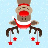 Reindeer Upside Down With Hanging Stars On Antlers Snow Blue poster
