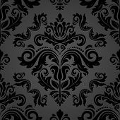 Classic Seamless Pattern. Damask Orient Dark Ornament. Classic Vintage Background. Orient Ornament F poster