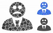 Sad Boss Composition For Sad Boss Icon Of Filled Circles In Different Sizes And Color Tints. Vector  poster