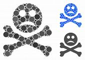 Sad Death Mosaic For Sad Death Icon Of Round Dots In Different Sizes And Color Hues. Vector Dots Are poster