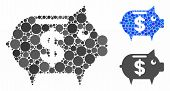 Piggy Bank Mosaic For Piggy Bank Icon Of Round Dots In Variable Sizes And Color Tints. Vector Dots A poster