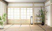 Big Ryokan, Room Interior Design Zen Japanese Style And Wooden Room Design Minimal.3D Rendering poster