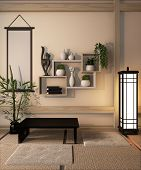 Ryokan Room Design Very Japanese Style.3D Rendering poster