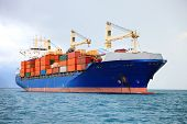 stock photo of nautical equipment  - big cargo container ship in mediterranean coast - JPG