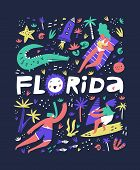 Florida Coast Summer Rest Flat Vector Illustration. State Name Freehand Lettering. Holiday Vacation  poster