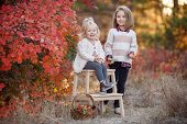 Two Cute Young Sisters Having Fun On Beautiful Autumn Day. Happy Children Playing In Autumn Park. Ki poster