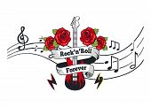 Rock N Roll Forever, Electric Guitar With Roses And Banner With Text Vector. Notation, Music Sheet W poster