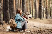 Young Girl With Her Dog, Alaskan Malamute, Outdoor At Autumn. Domestic Pet poster