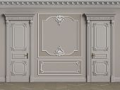 Classic Interior Walls With Copy Space.pastel Brown Colors Walls With Ornated Mouldings And Classic  poster