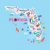 Florida State Color Map Flat Vector Illustration. American City Names Handwritten Lettering. Us Tour poster