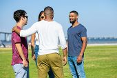Close Friends Meeting Outside. Young Men And Woman Standing In Circle On Grass, Chatting, Laughing.  poster
