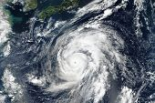 Hagibis Super Typhoon Approaching The Coast. The Eye Of The Hurricane. Satellite View.  Some Element poster