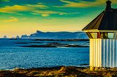 Seascape With Old Lighthouse, Rest Stop Location On Andoya Island. Scenic Rocky Coastline, Vesterale poster