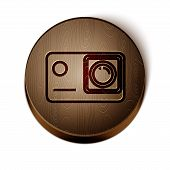 Brown Line Action Extreme Camera Icon Isolated On White Background. Video Camera Equipment For Filmi poster