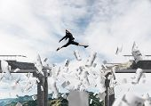 Business Woman Jumping Over Gap In Bridge Among Flying Papers As Symbol Of Overcoming Challenges. Sk poster